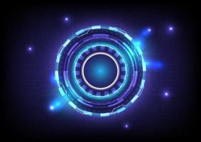 Circuit board. Abstract hologram high tech background. Virtual reality technology innovation. Head-up display interface. Futuristic Sci-Fi glowing HUD circle. Digital infographic business vector
