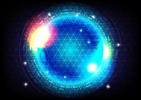 Futuristic Sci-Fi glowing HUD circle and sphere. Blue and red light effect. Abstract hi-tech background. Head-up display interface. Virtual reality technology innovation screen. Digital business vector