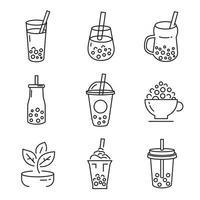 Milk tea icon, Pearl milk tea, Taiwan milk tea,Yummy drinks, coffees and soft drinks with doodle style  Icon set. - Vector