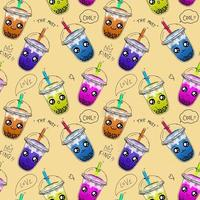 Bubble tea,Pearl milk tea ,coffees and soft drinks with doodle style seamless pattern background vector. vector