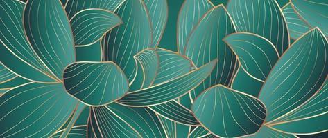 vector de fondo de loto de oro de lujo. colección de papel tapiz zen con arte de línea de loto dorado. diseño para banner de yoga, diseño de portada de lujo e invitación, invitación, banner, diseño de empaque de productos naturales.