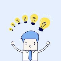 Businessman with different size of idea bulbs. Cartoon character thin line style vector. vector