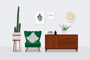 Diseño de interiores de sala de estar escandinavo. vector
