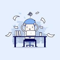 Busy time of businessman in hard working. A lot of work. Stress at work. Cartoon character thin line style vector. vector