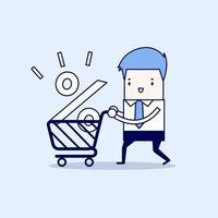 Interest Rate Shopping, Businessman shopping for a good interest rate percentage. Cartoon character thin line style vector. vector