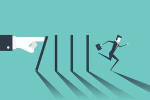 empresario huyendo del dominó que cae por la mano del jefe. efecto dominó y concepto de crisis empresarial. vector