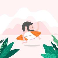 Hipster man on the beach with surfboard. summer concept. vector