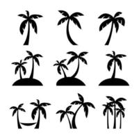 Set of coconut or palm trees with islands silhouette icon. vector