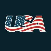 Text USA filled with American flag on dark background. vector