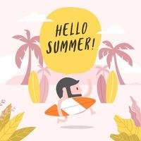 Hipster man running on the beach with surfboard. Hello summer time concept. vector