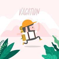 el hombre corriendo de vacaciones. vector