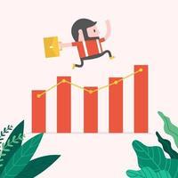 Hipster Businessman jump over growing chart. vector