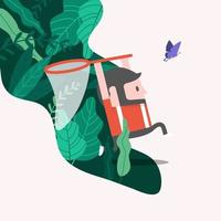 The man is running out of the forest to catch a butterfly with a net. Catching butterflies and leisure time concept. vector