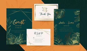 Wedding invitation cards. Luxury gold invite design template. vector