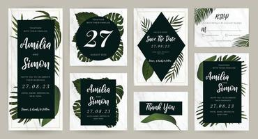 Tropical gold wedding invitation card design vector collection. Stationary design for vip banner, print and cover background.