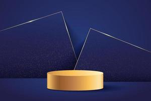 Luxury golden cylinder pedestal podium. Dark blue geometric backdrop with golden glitter texture. Abstract modern vector rendering 3d shape for products display presentation. Minimal wall scene.