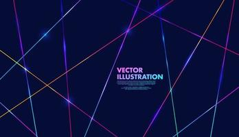 Abstract colorful neon light on dark blue background. Modern and minimal concept. You can use for cover template, poster, banner web, flyer, print ad. Vector illustration