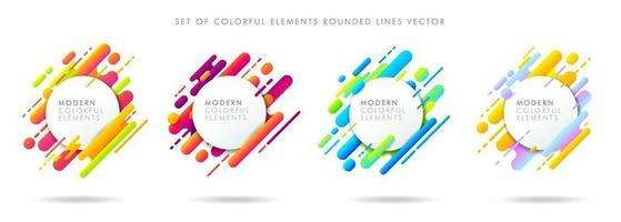 Set of abstract icons colorful geometric pattern composition rounded line shapes diagonal transition on white background. Modern and Minimal style. Vector illustration