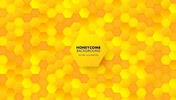 Abstract honeycomb background in soft yellow color. Hexagon pattern. Seamless background. Vector illustration