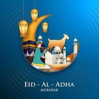 illustration of sheep wishing Eid ul Adha Happy Bakra Id holy festival of Islam Muslim vector
