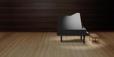 piano en el escenario, piso de madera e iluminación, ilustración 3d foto