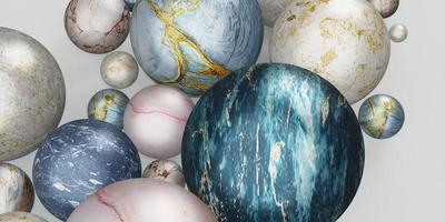 marble ball glass ball background marble beads 3D illustration photo