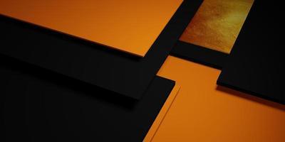 fondo de textura de hoja de oro marco negro y amarillo nivel del piso elegante potente ilustración 3d foto