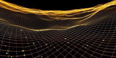 rejilla de onda abstracta efecto de luz de malla de color neón ilustración 3d foto