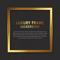 Luxury gold square frame with copy space for text design on black background. vector
