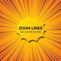 Abstract zoom line comic motion and pop art style with yellow on orange background. vector