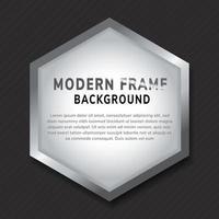 Modern silver hexagon frame mockup on dark background. vector