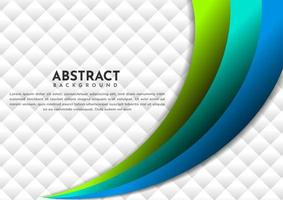 Abstract blue and green line curve gradient layer overlapping background with copy space for text. vector