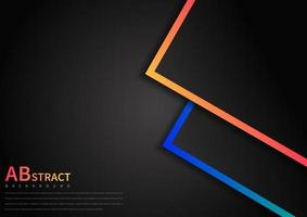 Abstract template geometric overlap with vibrant color border on black background with space area for text. vector