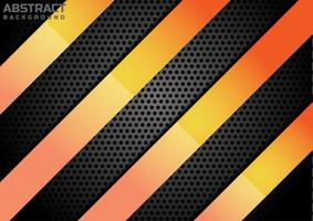 Abstract diagonal glossy orange color on metal plate background. vector