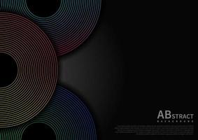 Abstract circles lines overlap layers on black background and gradient line decoration with copy space for text. vector