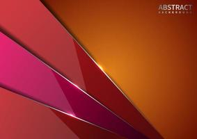 Abstract red and pink diagonal overlapping layers glossy on orange background with shadow with silver line modern style with copy space for text. vector