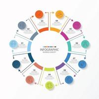 Basic circle infographic template with 11 steps, process or options, process chart, Used for process diagram, presentations, workflow layout, flow chart, infograph. Vector eps10 illustration.