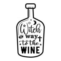 Minimalist style linear bottle with Witch Way to the Wine inscription and occult symbols designed for Halloween celebration vector