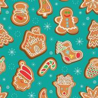 Seamless vector pattern of traditional gingerbread cookies of various shapes for Christmas celebration amidst snowflakes against green background