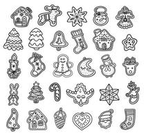 Collection of vector illustrations of graphic icons of traditional Xmas gingerbread cookies of various shapes