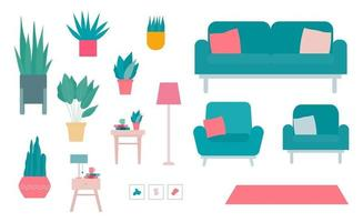 Set of Interior Elements and Plant Flat Vector Illustrations