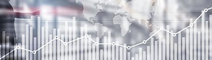 Mapa del mundo global de doble exposición en el fondo comercial del mercado de valores financiero empresarial foto