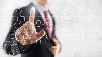 Gears mechanism, digital transformation, data integration and digital technology concept. photo