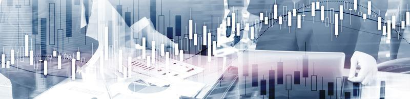 gráfico del mercado de valores financiero. banner económico del sitio web. foto