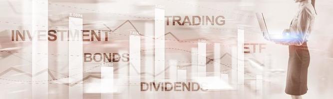 concepto de dividendos de bonos. Bandera abstracta del fondo de las finanzas del negocio. foto