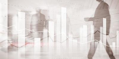 Equipo de negocios traders planificación de inversiones y análisis gráfico de operaciones bursátiles con datos de gráficos de acciones. foto