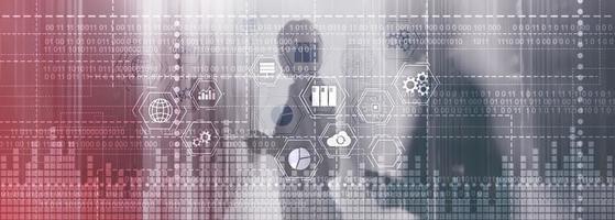 código binario. tic - tecnología de la información y las telecomunicaciones e iot - conceptos de internet de las cosas. foto