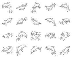 Conjunto de iconos de ilustración de vector de arte de línea de delfín