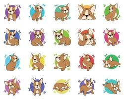 Color vector illustration icon set cartoon on a white background of cute French Bulldogs.