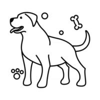 Cute Cartoon Vector Illustration icon of a big dog. It is outline style.